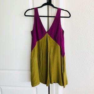Silk Green and Purple Dress Medium